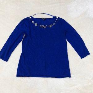 Embellished Royal Blue 3/4 Sleeve Soft Sweater